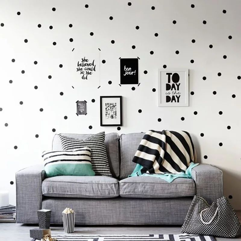 Black Polka Dots Wall Stickers Circles DIY Stickers for Kids Room Baby Nursery Room Decoration Peel-Stick Wall Decals Vinyl