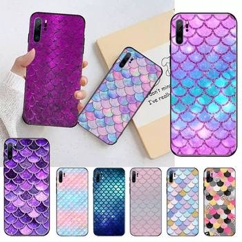 Pink Purple Glitter Mermaid Scales Phone Case For Huawei honor Mate P 9 10 20 30 40 Pro 10i 7 8 a x Lite nova 5t image