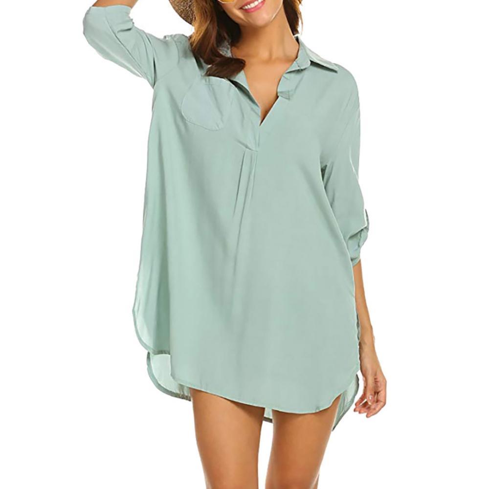 Women Vintage Blouse Fashion New Long-sleeved Lapel Shirt Deep V-neck Beach Sunscreen Shirt