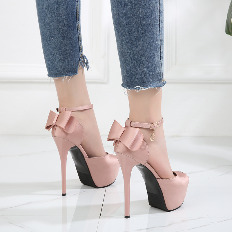 Women Pumps Sandals New Fashion Sexy Shoes Bow 12cm/14cm High Heels Peep-toe Platform Solid Party Ladies Office Female Sandals