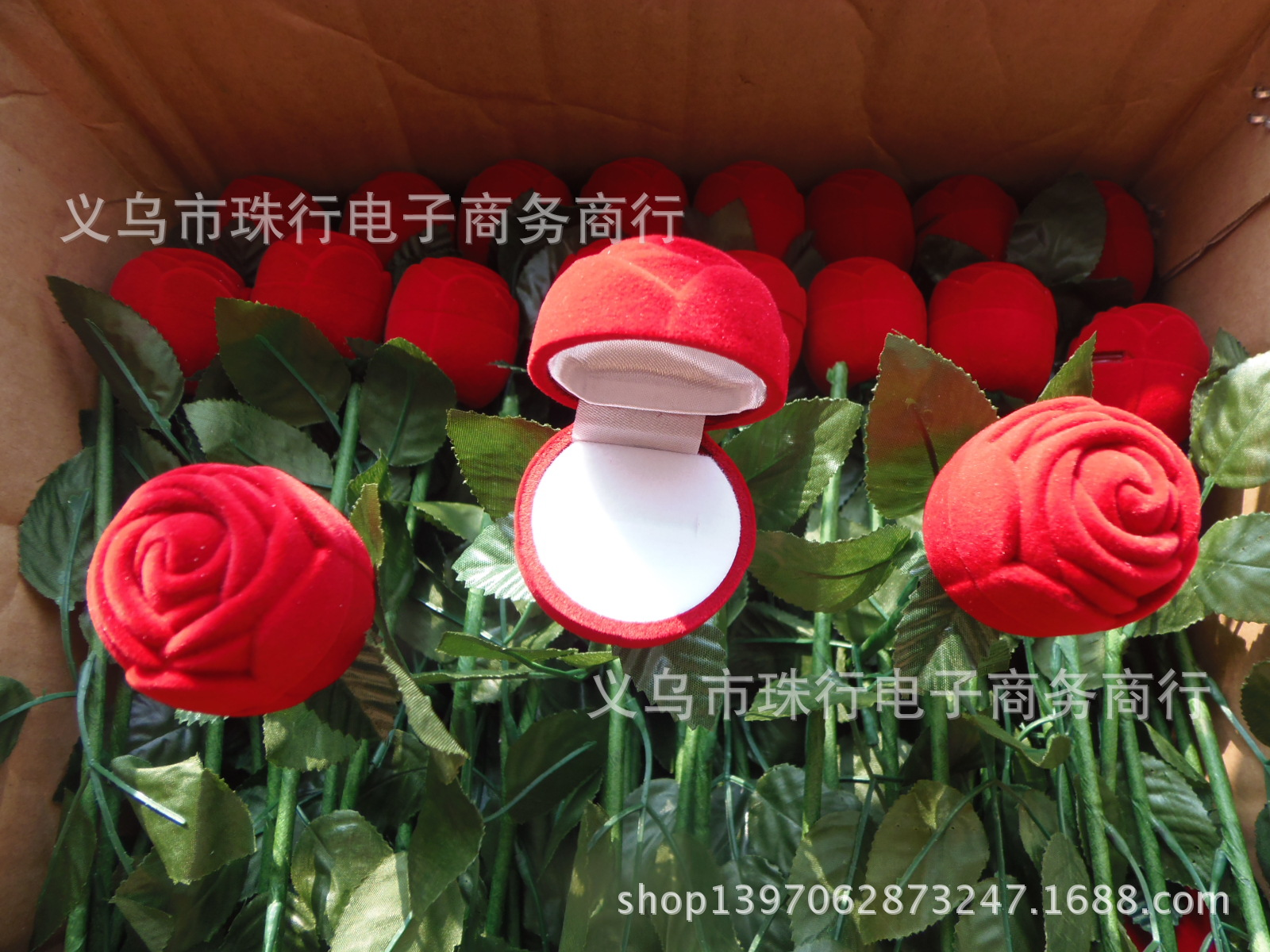 Accessories Red Flannel Ring Box Rose Ring Box With Branches Rose Ring Box