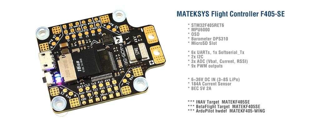 <font><b>Matek</b></font> <font><b>Systems</b></font> <font><b>BetaFlight</b></font> <font><b>F405</b></font>-SE Flight Controller Built-in PDB OSD 5V/2A BEC Current Sensor For RC Multicopter image