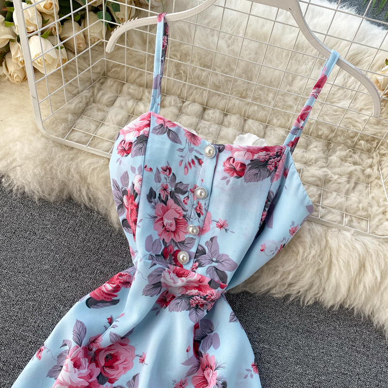 Spaghetti Strap Flower Print Split Bohemian Bandage Dress 16