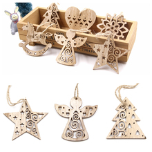 6PCS European Hollow Christmas Snowflakes Wooden Pendants Ornaments for Xmas Tree Ornament Party Decorations Kids Gift