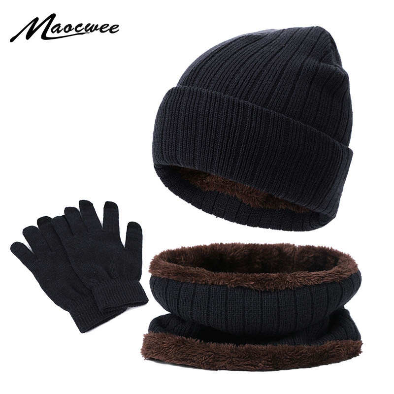 Winter Beanie Hat Scarf Gloves Three-piece Set Women Men Touch Screen Gloves Outdoor Warm Velvet Knitted Unisex Beanie Hats Sets