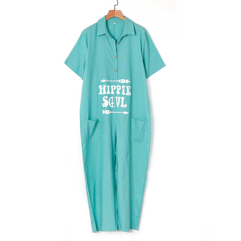 Brief Print Overall lose V-Ausschnitt Kurzarm Sommer Wide Leg Long Pants 2020 neue weiße Aufmaß Jumpsuits Overalls