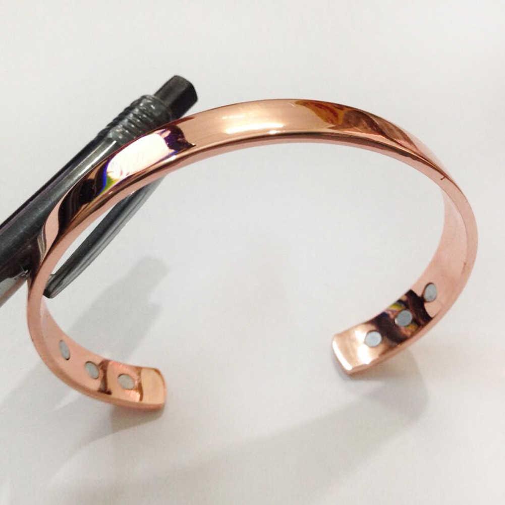 2019 מכירה לוהטת טהור נחושת להרחיב צמיד מצופה זהב צבע פשוט צמיד ביו בריא ריפוי צמיד