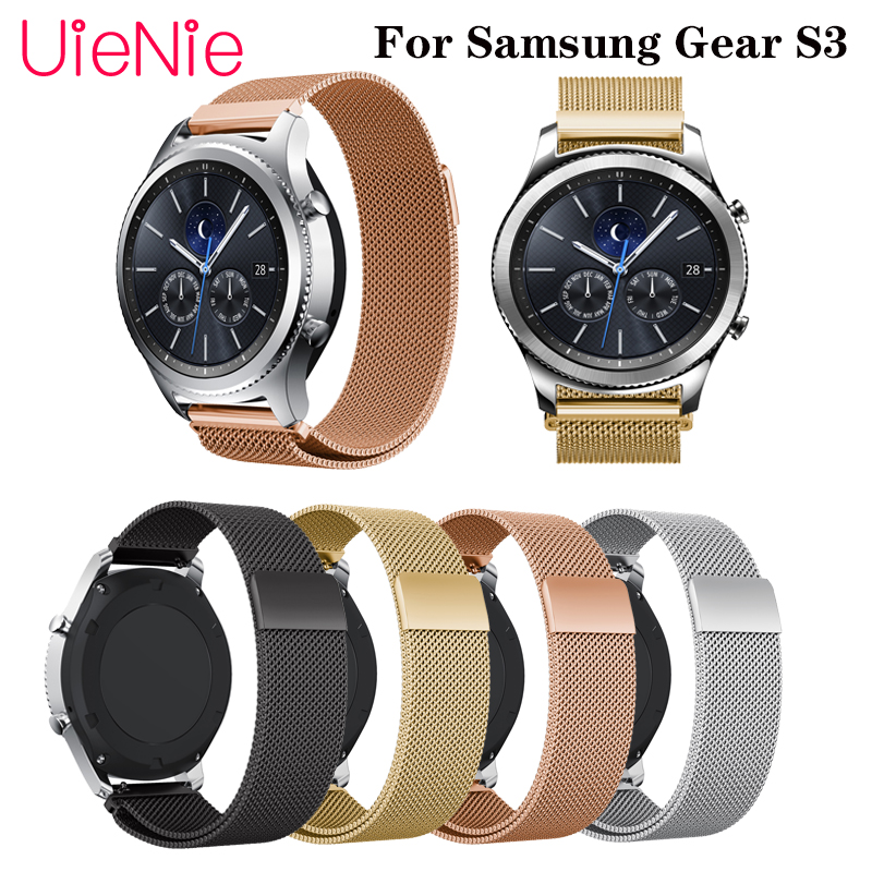 22mm Milanese Loop strap For Samsung Gear S3/Galaxy Watch 46MM Stainless Steel metal Band For huami amazfit stratos 2S Bracelet image