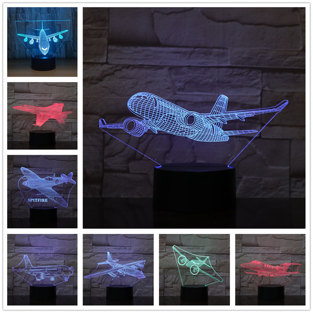 Kingchip War Plane Fighter-Aircraft 3D Night Lights Table Lamp Multi Colors Military Jet Plane With USB Power Decor Gift 3d Lamp