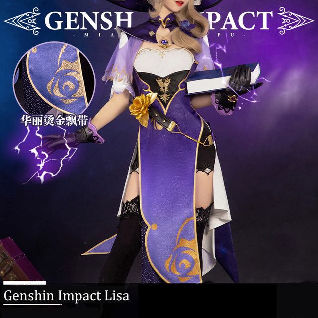 Anime Genshin Impact Lisa Game Suit Lovely Dress Uniform Cosplay Costume Halloween Party Outfit For Women Girls 2020 NEW 4