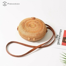 Pabaobao Shoulder Bags for Women 2019 Retro Rattan Woven Round Knitted Messenger Crossbody Bag birthday gifts dropship