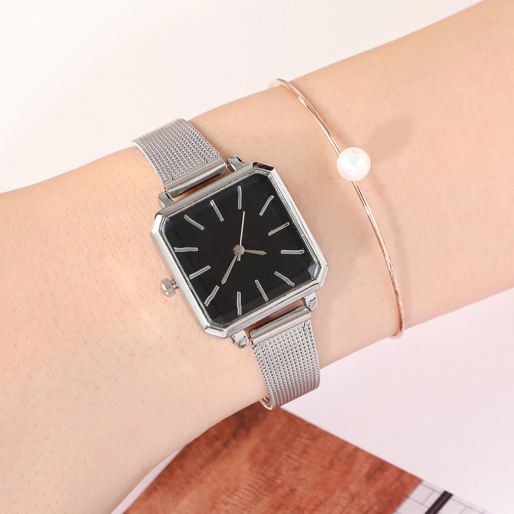 Square Fashion Bracelet Silver Women Watches 2019 Luxury Brand Ladies Watch Women Female Quartz-watch Wristwatch Zegarek Damski