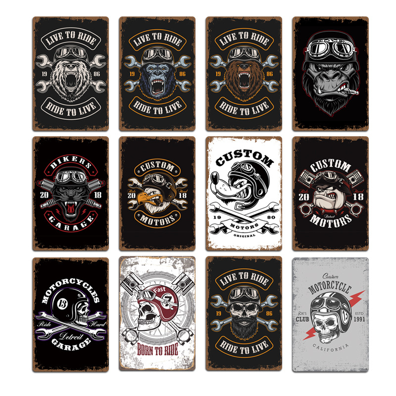 2020 New Motorcycle Skull Wolf Signs Metal Plaques Pub Club Wall Decoration Vintage Metal Tin Sign Home Garage Decor Art Posters