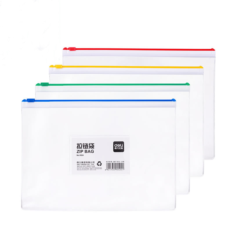 One A5 Advanced Business Waterproof Plastic Zipper Clip Pen Bag Document Bag Office Supplies Student Supplies