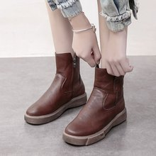 Купить с кэшбэком freeshipping2019 winter large size short boots leather boots short tube retro flat comfortable Martin  ankle boots for women