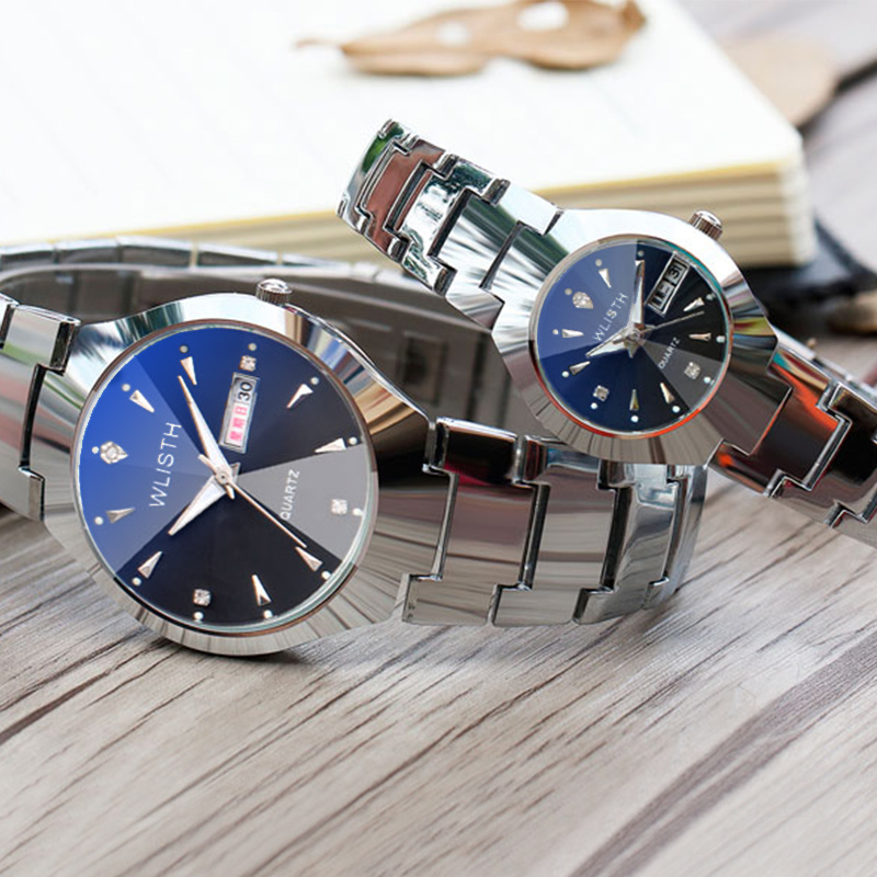 WLISTH Waterproof Couple Watch Tungsten Steel Rose Couple Watches Lady Clock Calendar Quartz Zegarek Damski