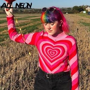 ALLNeon Y2K эстетика сердца в полоску с высоким, плотно облегающим шею воротником пуловеры E-милое платье с длинными рукавами ярко-розовый свитер Harajuku 90s вязаная одежда на осень