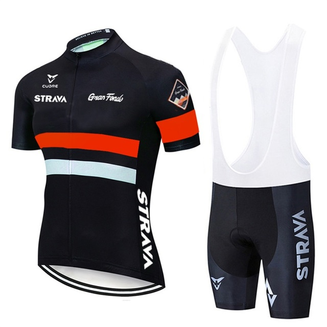 2021 strava pro equipe de verão conjunto camisa ciclismo bicicleta roupas respirável dos homens manga curta camisa bib shorts 4