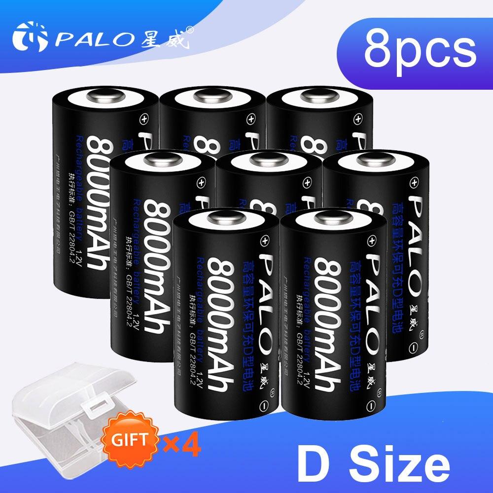 PALO 8 pièces 8000mAh 1.2v D Taille Batterie Rechargeable de Grande Capacité Pour Lampe De Poche Jouets Radio Réfrigérateur Avec 4 pièces Coffres De Batterie