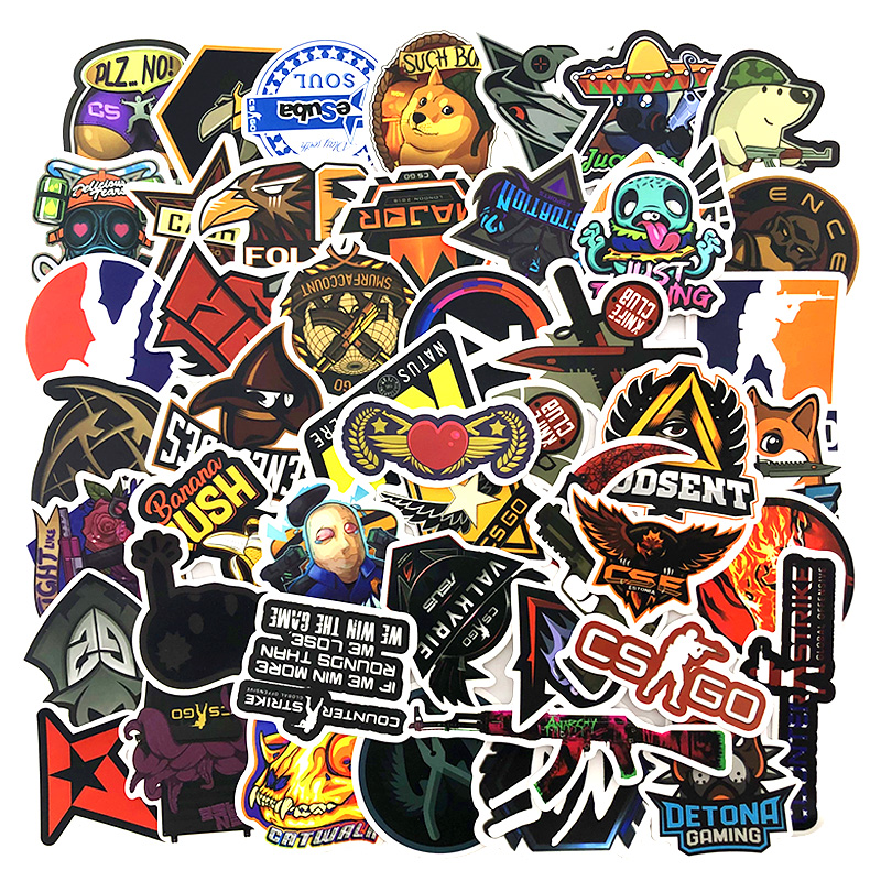 50 PCS Lot CS GO Stickers Motorcycle Anime Game Sticker For Boys Laptop Funny Graffiti Stickers Mix Waterproof Retro Pegatinas