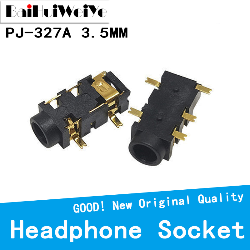 20PCS/LOT 10PCS 3.5MM Headphone PJ-327A Gold-Plated Patch SMD Audio Earphones/Headphone Socket PJ327A