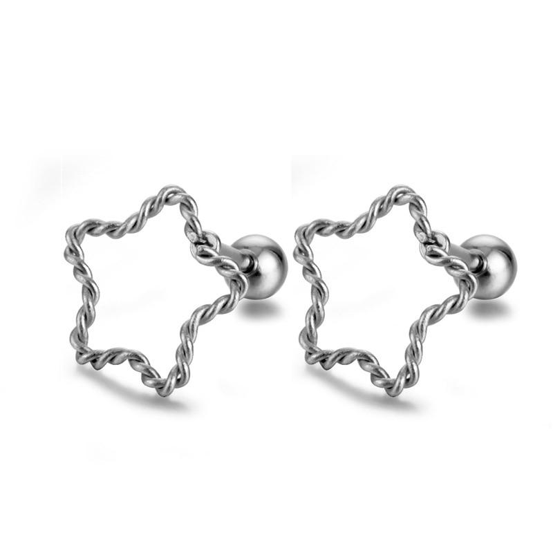 Simple Design Hollow Out Star Ear Stud Earrings Elegant Women's Black Silver Color Earrings Fashion Ladies Wedding Jewelry