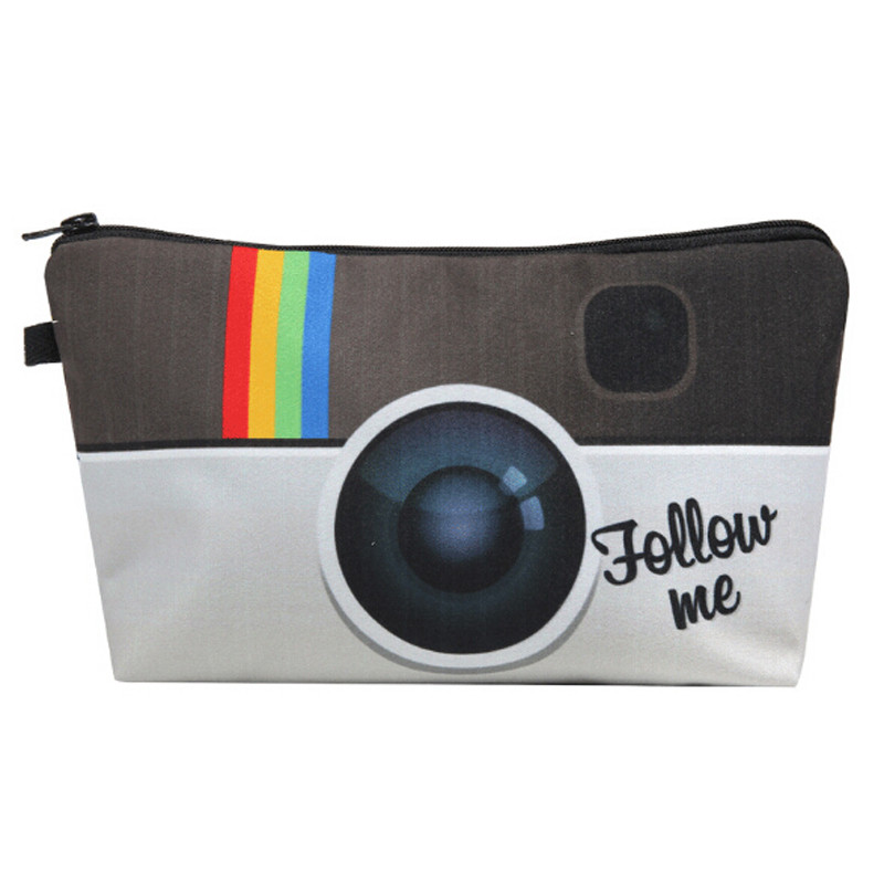 Hot Sale Instagram Follow Me Camera 3D Printed Waterproof Makeup Organizer Storage Case Travel Phone Bag Women Cosmetic Bag Gift
