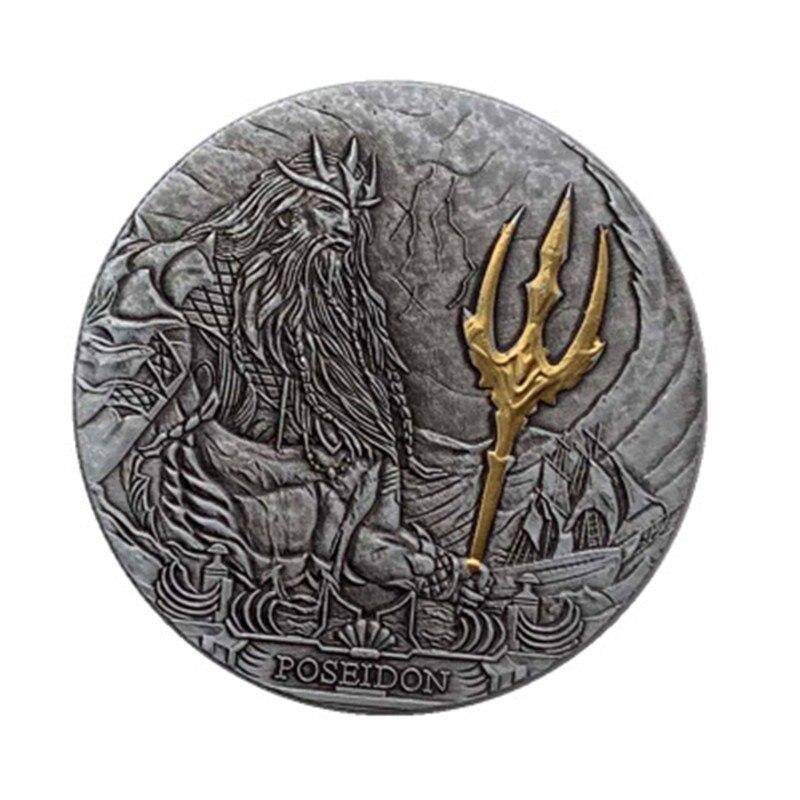 Горячая Распродажа Sea King Poseidon, серебряная позолоченная монета, сувенирные монеты, подарки, поделки, коллекционные подарки