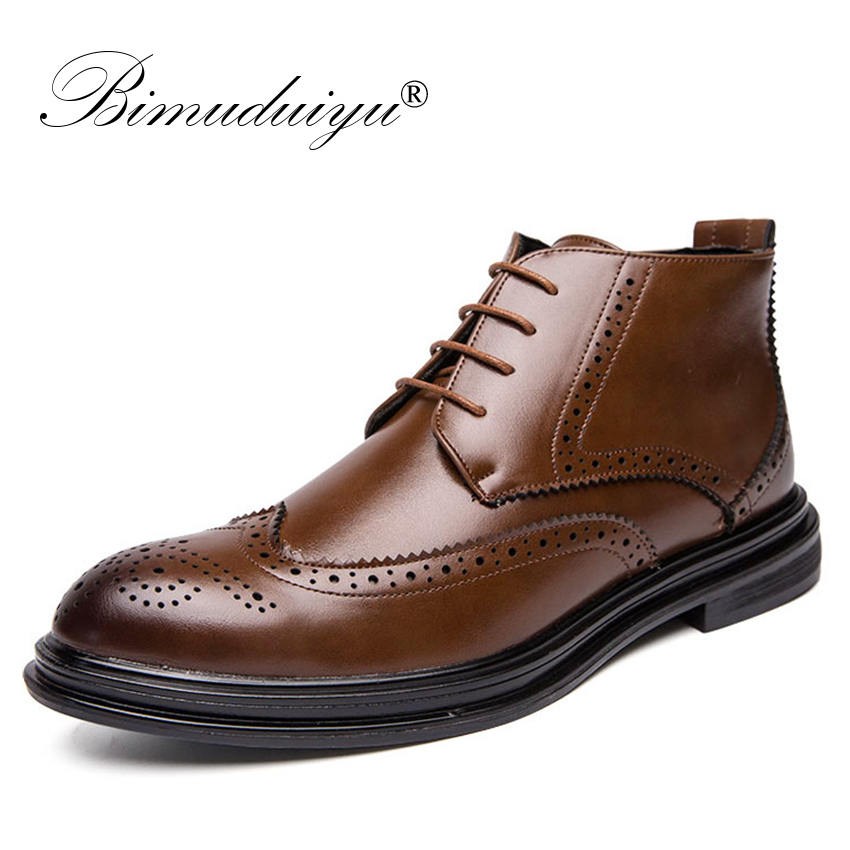 BIMUDUIYU Autumn New Men Leather Ankle Oxford Boots British Style Male Casual Lace Up Derby Shoes Fashion High Top Brogue Shoes