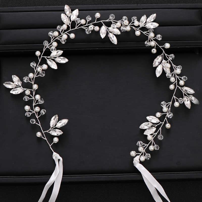 อินเทรนด์เจ้าสาวอุปกรณ์เสริมผม Tiara Baroque Rhinestone คริสตัลแถบคาดศีรษะ Silver Pearl ผมงานแต่งงานอุปกรณ์เสริมผมทำด้วยมือ