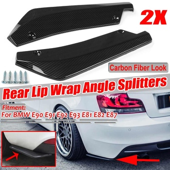 Carbon Fiber Look Universal Car Rear Bumper Protector Rear Lip Wrap Angle Splitters For BMW E39 E46 E53 E90 E92 E93 E60 E61 X5 image