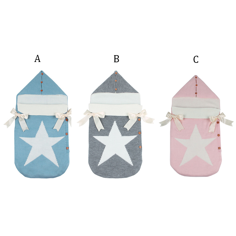 Envelopes For Newborns Five Star Knitted Sleeping Bags Spring Grey Autumn Button Up Infant Baby Swaddle Wrap Sleep Sacks Blanket