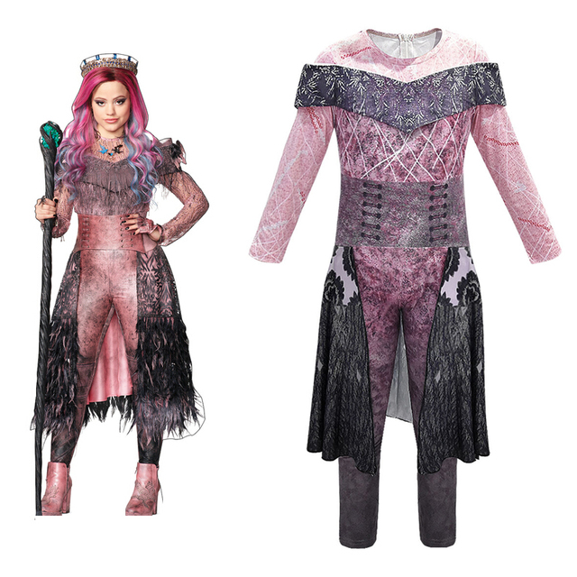 Kids Baby Girl Mal Bertha Maleficent Halloween Descendants Cosplay Jumpsuit Set 3D Printed Costume Masquerade dress Long sleeved