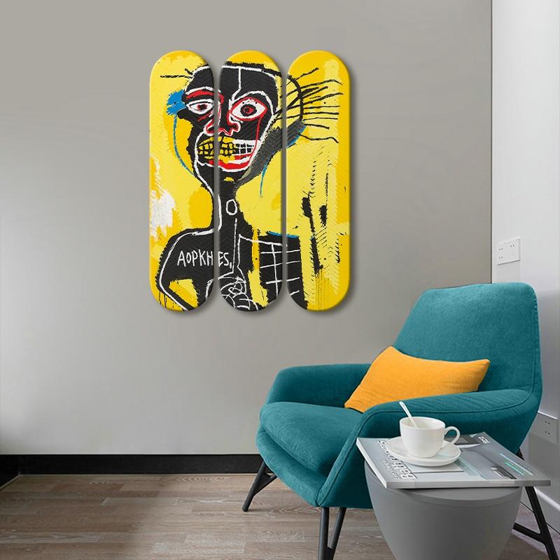 Basquiat 'Cabeza' Skateboard Wall Art Graffiti Skate Deck Mural Wall Hanging Decorative Board for Bar Pub Club Man Cave Decor