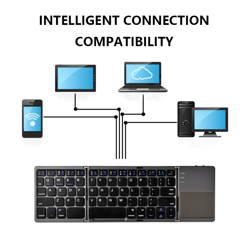 Мини компактная Тройная складная клавиатура портативная классная Беспроводная клавиатура для телефона планшета с сенсорной панелью мыши