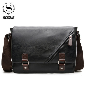 Scione Man Leather Shoulder Bags Travel Bag Men Briefcase Laptop Business Crossbody Men Bag Brand Luxury Messenger Bag Male laptop bag 14 inch laptop shoulder bag fashion brand laptop messenger bag leather bag for laptop luxury men briefcase handbag