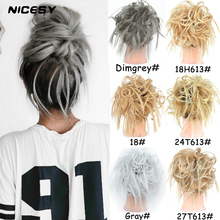 Hair-Extensions Hair-Scrunchie Synthetic Bun Curly Messy NICESY Elastic Women Silver