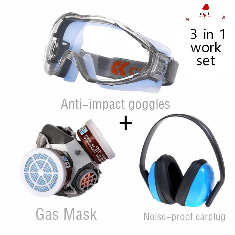 3 In 1 Spray Paint Working Set Respirator Mask Anti-dust Filter Gas Mask Dual Cartridges Strong Impcat Proof Lens Ear Protection