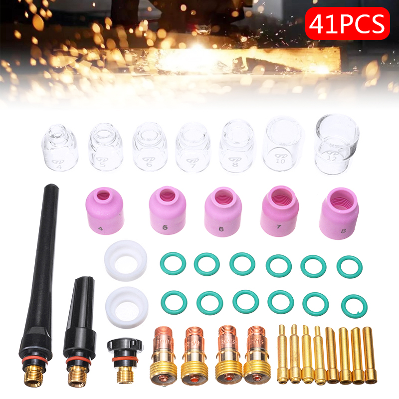 41Pcs Set Durable TIG Welding Torch Stubby Gas Lens Pyrex Glass Cup Kit For Tig WP-17 18 26 Torch Welding Accessories