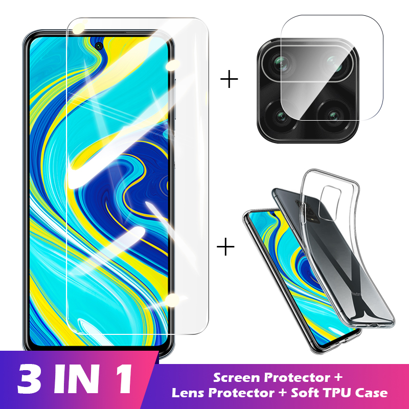 3-in-1 Case + Camera protective Glass For xiaomi redmi note 8 9 pro 8t 9s Screen Protector Lens temered On redmi k30 pro glass(China)