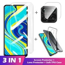 Funda 3 en 1 + cristal Protector de cámara para xiaomi redmi note 8 9 pro Protector de pantalla cristal templado para redmi 9a 9c poco x3