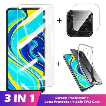 Funda 3 en 1 + cristal Protector de cámara para xiaomi redmi note 8 9 pro 8t 9s Protector de pantalla lente templada en cristal redmi k30 pro
