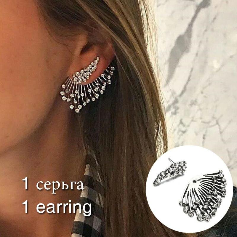 Купить с кэшбэком Female Vintage Drop Earrings One Side Women Fashion Dangle Earrings Unilateral Jewelry Silver Color Earring for Girls Wedding