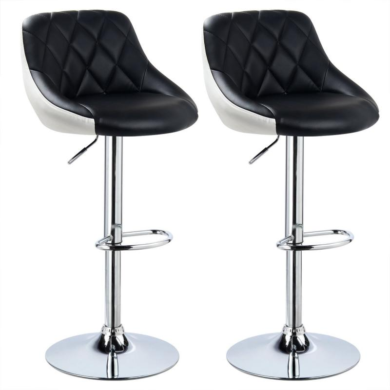 2PC Fashion Swivel Bar Chairs Synthetic Rotating Bar Stool Lifting High Stool With Footrest Adjustable For Home Office Decor HWC