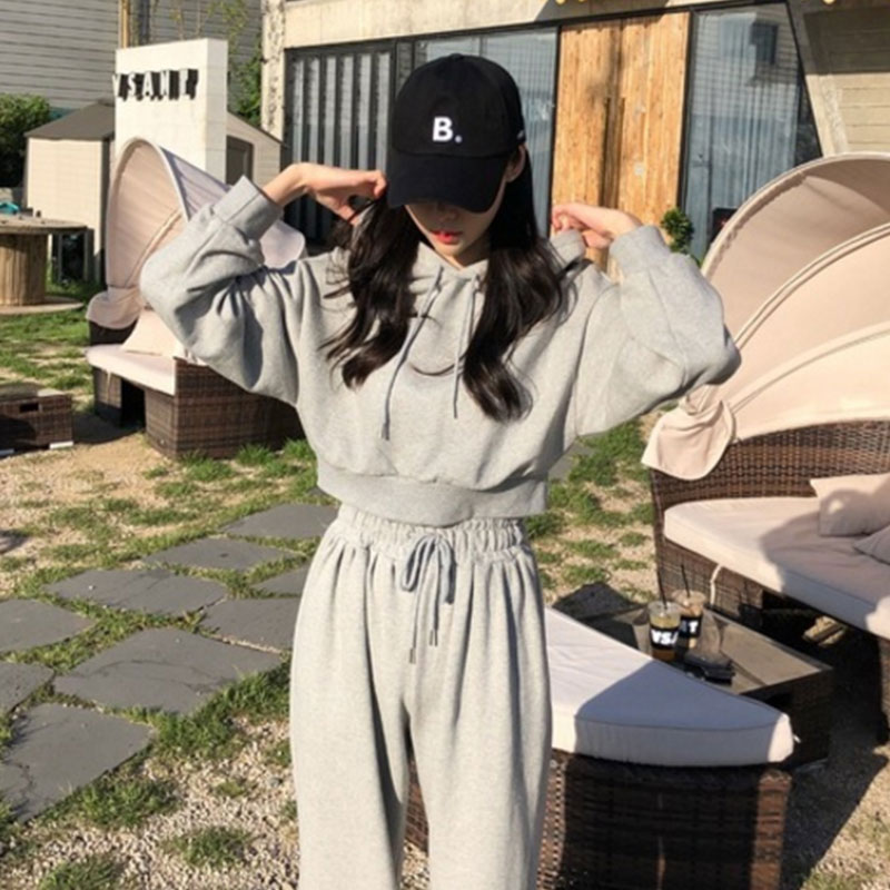 2020 Autumn Black Gray Tracksuit Pants Suit Women Two-piece Set Hoodies Casual Sporting Coat Top+Bell-bottomed Pants Sets BW356