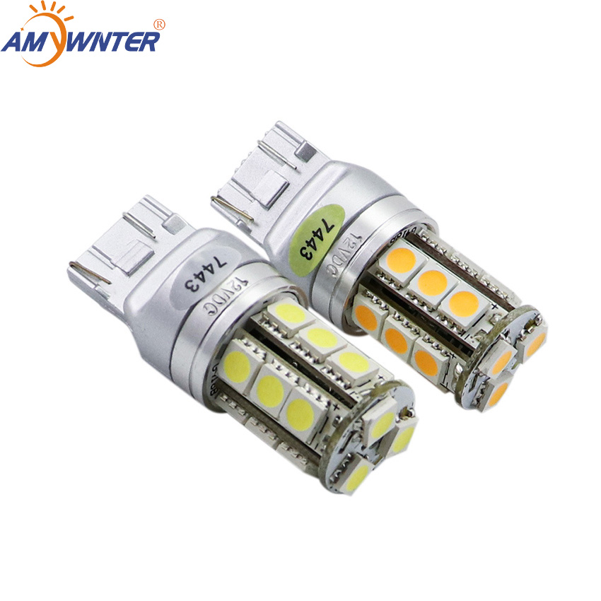 Amywnter T20 W21/5W 12V w16w led Dual Light Function WY21W LED Yellow White car Brake lights bulbs Red Car Light Source