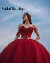 Vestido de baile rojo para niñas, quinceañera, princesa hinchada, sin hombros, dulce, 16 vestidos, 15 años, quinceañera, 2021