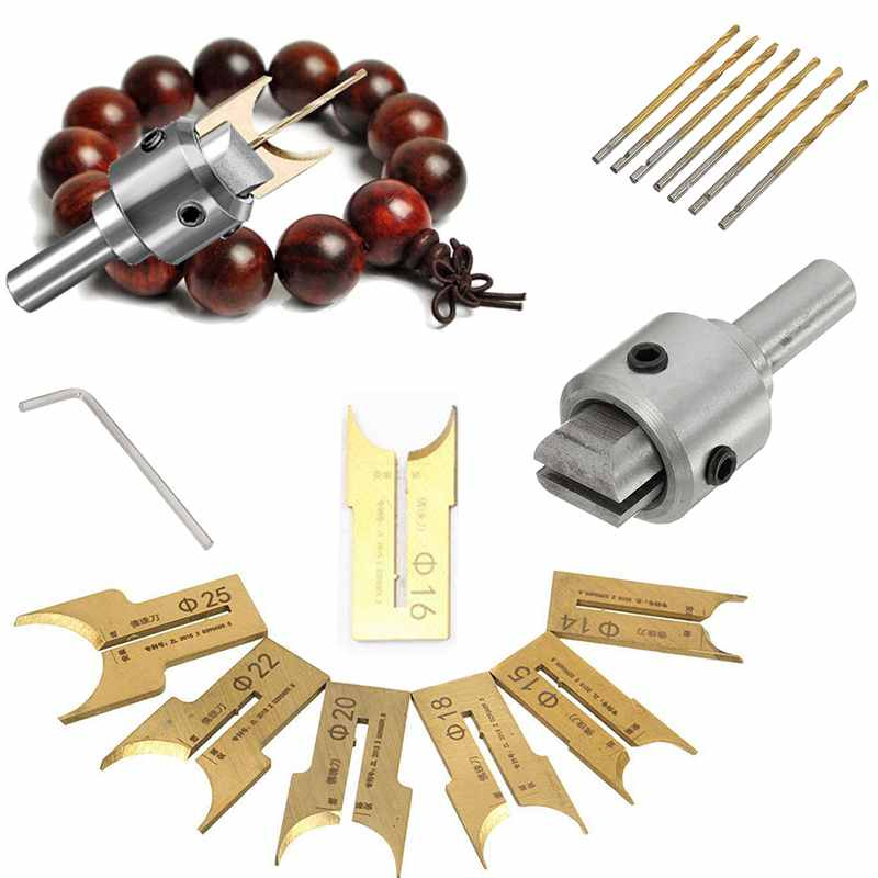 16Pcs Carbide Ball Blade Woodworking Milling Cutter Molding Tool Beads Router Bit Drills Bit Set 14-25Mm