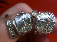 American classic jewelry 】 925 sterling silver butterfly flower beautiful silver spoon mouth ring