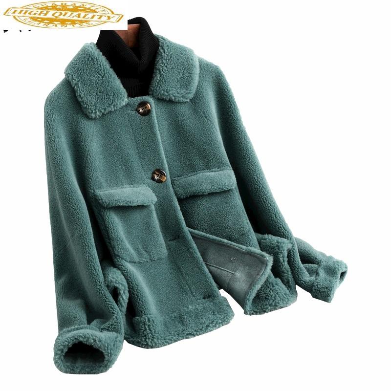 2020 New Korean Sheep Fur Coats Women Clothes Elegant Winter Jacket Warm Fit Women Wool Real Fur Coat Female 59346 LW434